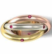 Tri-Color Ruby Rolling Ring
