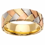 Tri Gold Band Braided 7mm 14kt