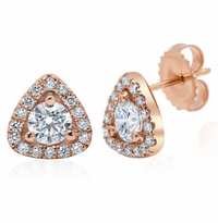 Triangular Diamond Halo Earrings
