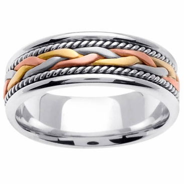 Tricolor Gold Ring with Handmade Design in 7mm - click to enlarge