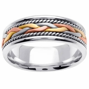 Tricolor Gold Ring with Handmade Design in 7mm
