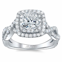 Twisted Split Shank Double Halo Engagement Ring