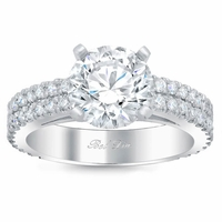 Two Row Pave Cathedral Engagement Ring