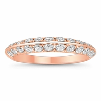 Two Row Pave Knife Edge Wedding Ring