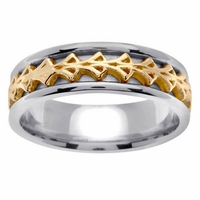 Two Tone Celtic Ring in 7 mm Comfort Fit