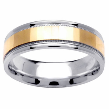 Two Tone Gold Ring with Comfort Fit in 6.5mm 14kt for Men - click to enlarge
