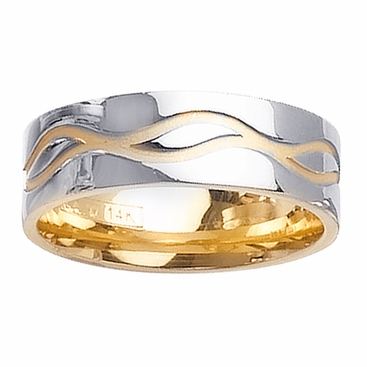 Two Tone Gold Ring with Comfort Fit in 7mm 14kt for Men - click to enlarge