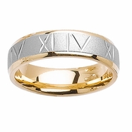 Two Tone Gold Roman Numeral Ring Comfort Fit 6mm