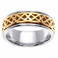 Two Tone Knots Wedding Ring Platinum and  Gold