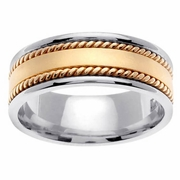 Two Tone Mens Wedding Ring with Handmade Design 8mm