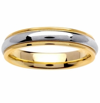 Two Tone Ring 4.5mm 14kt Gold for Men or Women