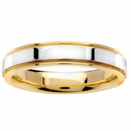 Two Tone Ring with Comfort Fit in 4.5mm 14kt Gold for Men or Women