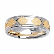 Two Tone Ring with Comfort Fit in 6mm 14kt Gold for Men or Women