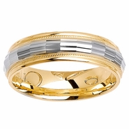 Two Tone Ring with Comfort Fit in 6mm 14kt Gold Men or Women