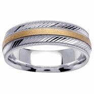 Two Tone Wedding Band with Comfort Fit in 6.5mm 14kt Gold