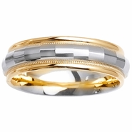 Two Tone Wedding Ring in 6mm 14k Gold for Men or Women