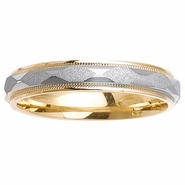 Two Tone Wedding Ring with Comfort Fit in 4mm 14kt Gold for Men