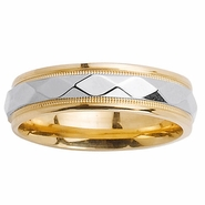 Two Tone Wedding Ring with Comfort Fit in 6mm 14kt Gold Unisex
