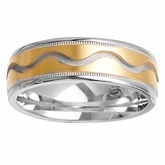 Two Tone Wedding Ring with Comfort Fit in 7mm 14kt Gold for Men