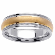 Two Toned Ring with Comfort Fit in 6.5mm 14kt Gold for Men