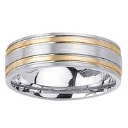 Two Toned Ring with Comfort Fit in 7mm 14kt Gold for Men