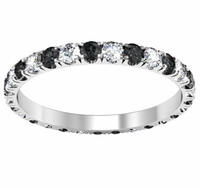 U-Pave Black and White Diamond Eternity Ring