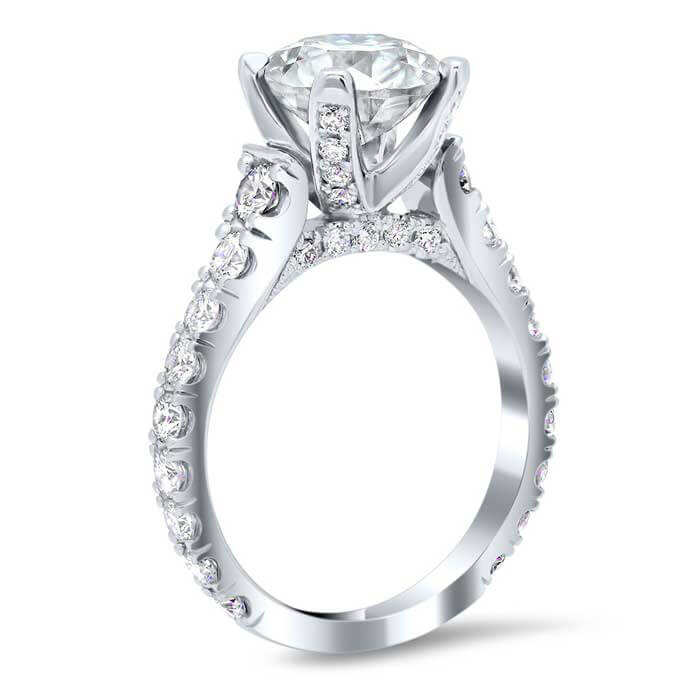 U Pave Diamond Accented Engagement Ring With Pave Bridge