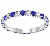 U-Pave Eternity Band with Blue Sapphires and Diamonds