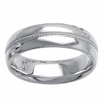 Unique Wedding Band for Men in 14kt White Gold - click to enlarge