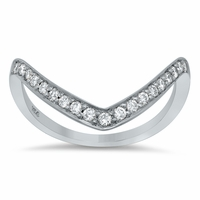 V-Shaped Pave Diamond Ring