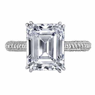 'Victoria' Diamond Accented Engagement Ring - click to enlarge