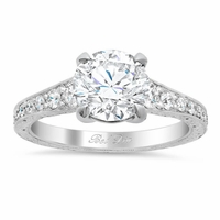 Vintage Style Hand Engraved Diamond Engagement Ring
