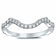 Wavy Matching Diamond Wedding Band