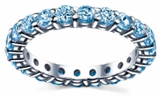 Wedding Band of Blue Topaz