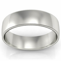 Wedding Band with Milgrain for Men in 6 mm
