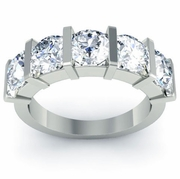 Wedding Diamond Five Stone Ring with Round-Cut Diamonds Certified GIA