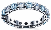 Wedding Eternity Band with Diamond and Aquamarine