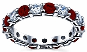 Wedding Eternity Band with Diamond and Garnet