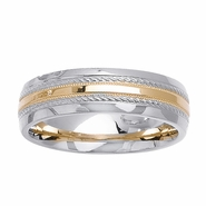 Wedding Ring Two Toned Comfort Fit in 6mm 14kt Gold for Men or Women
