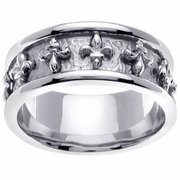 Wedding Ring with Fleur De Lis Design in 9mm 14kt Gold