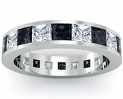 White and Black Diamond Gemstone Eternity Wedding Ring
