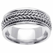 White Gold Braided Handmade Ring