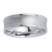 White Gold Concave Ring in 7mm