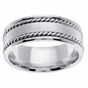 White Gold Handmade Mens Ring 8mm