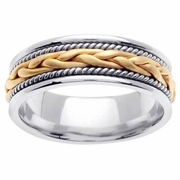 White Gold Handmade Ring with Yellow Gold Center