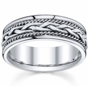 White Gold Mens Hand Made Ring