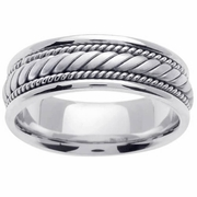 White Gold Mens Hand Made Ring 7mm