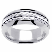 White Gold Mens Wedding Band with Handmade Design in 8mm
