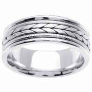 White Gold Mens Wedding Ring with Handmade Chevron Design in 8mm