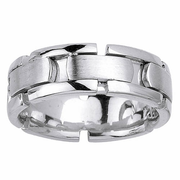 White Gold Mens Wedding Ring with Handmade Design in 8mm - click to enlarge